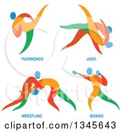 Clipart Of Colorful Taekwondo Judo Wrestling And Boxing Athletes Royalty Free Vector Illustration