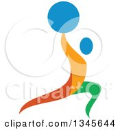 Clipart Of A Colorful Athlete Weightlifting Doing Lunges With A Barbell Over His Head Royalty Free Vector Illustration