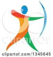 Clipart Of A Colorful Athlete Archery Bowman Aiming Royalty Free Vector Illustration