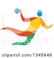 Clipart Of A Colorful Athlete Handball Player Royalty Free Vector Illustration