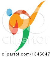 Clipart Of A Colorful Martial Arts Athlete Doing Taekwondo Royalty Free Vector Illustration