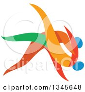 Clipart Of Colorful Martial Arts Judo Athletes Fighting Royalty Free Vector Illustration