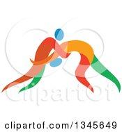 Colorful Athletes Wrestling