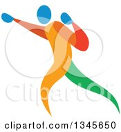 Clipart Of A Colorful Athlete Boxer Punching Royalty Free Vector Illustration by patrimonio