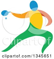 Clipart Of A Colorful Athlete Playing Table Tennis Royalty Free Vector Illustration