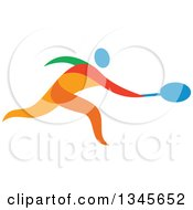 Clipart Of A Colorful Athlete Tennis Player Royalty Free Vector Illustration