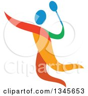 Clipart Of A Colorful Athlete Badminton Player Royalty Free Vector Illustration