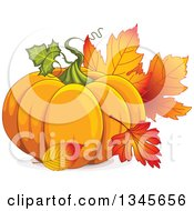 Plump Festive Pumpkin With Autumn Leaves