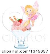 Clipart Of A Cute Fairy Girl Holding A Spoon Over A Bowl Of Ice Cream With A Strawberry And Piroette Wafers In A Bowl Royalty Free Vector Illustration