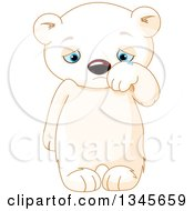 Clipart Of A Cute Sad Baby Polar Bear Cub Crying And Wiping Away Tears Royalty Free Vector Illustration by Pushkin