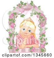 Clipart Of A Happy Blond Blue Eyed Caucasian Princess With A Dreamy Expression Resting Her Chin In Her Hand In A Crown Arch Window With Roses Royalty Free Vector Illustration by Pushkin