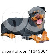 Clipart Of A Cute Happy Rottweiler Dog Resting Royalty Free Vector Illustration by Pushkin