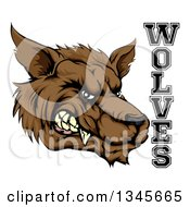 Clipart Of A Snarling Brown Wolf Mascot Head And Text Royalty Free Vector Illustration