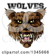 Clipart Of A Growling Brown Wolf Mascot Head And Text Royalty Free Vector Illustration
