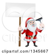 Clipart Of A Christmas Santa Claus Holding A Window Cleaning Squeegee And Blank Sign 4 Royalty Free Vector Illustration by AtStockIllustration