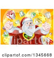 Clipart Of A Super Hero Santa Claus Flexing Over A Star Burst With Gifts Royalty Free Vector Illustration