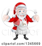 Clipart Of A Happy Christmas Santa Claus Wearing An Apron And Holding Silverware 2 Royalty Free Vector Illustration
