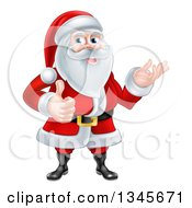 Clipart Of A Cartoon Happy Christmas Santa Claus Giving A Thumb Up And Presenting Royalty Free Vector Illustration
