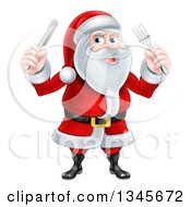Clipart Of A Happy Christmas Santa Claus Holding Silverware Royalty Free Vector Illustration by AtStockIllustration