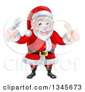 Clipart Of A Happy Christmas Santa Claus Holding An Adjustable Wrench And Giving A Thumb Up 2 Royalty Free Vector Illustration