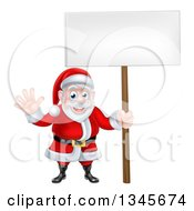 Clipart Of A Cartoon Christmas Santa Claus Waving And Holding A Blank Sign Royalty Free Vector Illustration