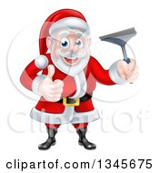 Christmas Santa Claus Giving A Thumb Up And Holding A Window Cleaning Squeegee 4