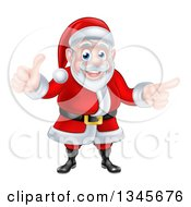 Clipart Of A Cartoon Happy Christmas Santa Claus Giving A Thumb Up And Pointing To The Right 2 Royalty Free Vector Illustration
