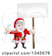 Clipart Of A Happy Christmas Santa Holding A Spanner Wrench And Blank Sign 4 Royalty Free Vector Illustration