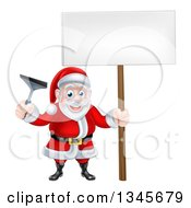 Clipart Of A Christmas Santa Claus Holding A Window Cleaning Squeegee And Blank Sign 3 Royalty Free Vector Illustration by AtStockIllustration