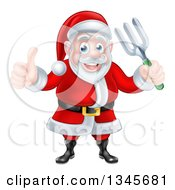 Clipart Of A Cartoon Christmas Santa Holding A Garden Fork And Giving A Thumb Up 2 Royalty Free Vector Illustration