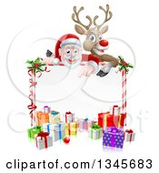 Clipart Of A Cartoon Christmas Red Nosed Reindeer And Santa Over A Blank White Sign And Gifts Royalty Free Vector Illustration by AtStockIllustration