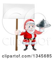 Clipart Of A Happy Santa Claus Holding A Silver Cloche Platter And Blank Sign 2 Royalty Free Vector Illustration