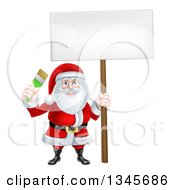 Clipart Of A Christmas Santa Claus Holding A Green Paintbrush And Sign 3 Royalty Free Vector Illustration