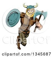 Clipart Of A Cartoon Blond Muscular Viking Warrior Sprinting With An Axe And Shield Royalty Free Vector Illustration by AtStockIllustration