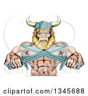Clipart Of A Cartoon Tough Muscular Blond Male Viking Warrior Holding Crossed Swords From The Waist Up Royalty Free Vector Illustration by AtStockIllustration