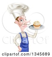 Clipart Of A Snooty White Male Chef With A Curling Mustache Holding A Cupcake On A Tray Royalty Free Vector Illustration