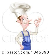 Clipart Of A White Male Chef With A Curling Mustache Gesturing Ok Royalty Free Vector Illustration
