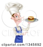 Clipart Of A Snooty White Male Chef With A Curling Mustache Holding A Gourmet Cheeseburger On A Tray And Pointing Royalty Free Vector Illustration by AtStockIllustration