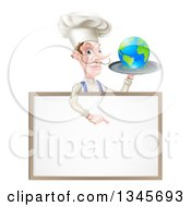 Clipart Of A White Male Chef With A Curling Mustache Holding Earth On A Platter And Pointing Down At A Blank Menu Sign Royalty Free Vector Illustration