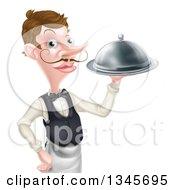 Cartoon Caucasian Male Waiter With A Curling Mustache Holding A Cloche Platter