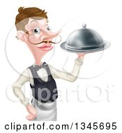 Clipart Of A Cartoon Caucasian Male Waiter With A Curling Mustache Holding A Cloche Platter Royalty Free Vector Illustration by AtStockIllustration