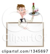 Cartoon Caucasian Male Waiter With A Curling Mustache Holding Red Wine On A Tray And Pointing Down Over A Blank Menu Sign Board