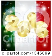 Clipart Of A 3d 2016 And Fireworks Over An Italian Flag Royalty Free Vector Illustration