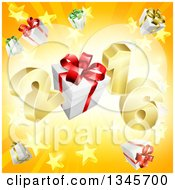 Clipart Of A 3d Gold New Year 2016 With Gifts Over A Starburst Royalty Free Vector Illustration