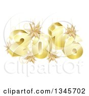 3d Gold New Year 2016 With Suspended Star Ornaments