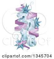 Clipart Of A 3d Blue 2016 With Suspended Swirls Stars And Purple Happy New Year Banners Royalty Free Vector Illustration