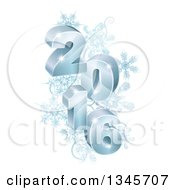 Clipart Of 3d Blue Year 2016 With Snowflakes Royalty Free Vector Illustration