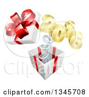 Clipart Of A 3d Gold New Year 2016 Popping Out Of A Gift Royalty Free Vector Illustration