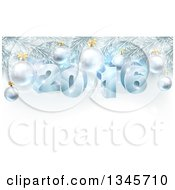 Clipart Of 3d Blue New Year 2016 And Baubles Suspended From A Christmas Tree Royalty Free Vector Illustration by AtStockIllustration