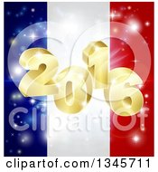 Clipart Of A 3d 2016 And Fireworks Over A French Flag Royalty Free Vector Illustration by AtStockIllustration